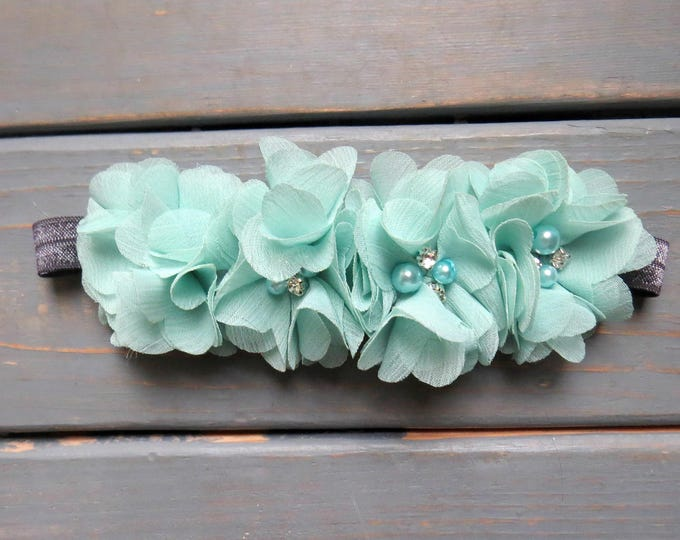 Mint Flower Headband, Baby Headband, Flower Girl Headband, Newborn Headband, Infant Headband, Flower Girl Headband, Wedding Headband