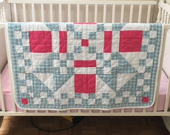 Baby quilt blue and Pink / Blue & Pink Baby Quilt