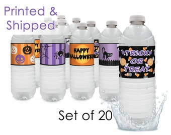 Halloween Water Bottle Labels, Halloween Party Favors, Halloween Party Decorations - Printed and Shipped (Set of 20)