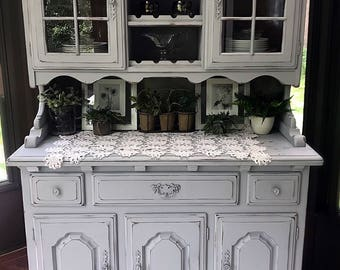 BEAUTIFUL Light Aged Grey Vintage Rustic Hutch Dining Room