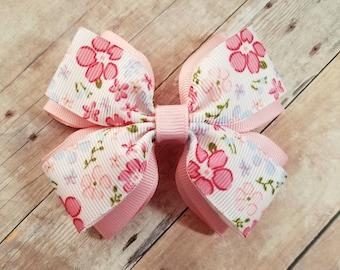 Spring Inspired Hair Bow, Cherry Blossom Bow, Cherry Blossom, Hair Clip, Girls Hair Clip, Spring Bow, Layered Hair Bow, Flower Hair Bow