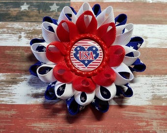 Fourth of July Bow, Patriotic, Patriotic Hair Bow, Stars and Stripes, 4th of July Bow, Hair Bow, Fourth of July, Hair Clip