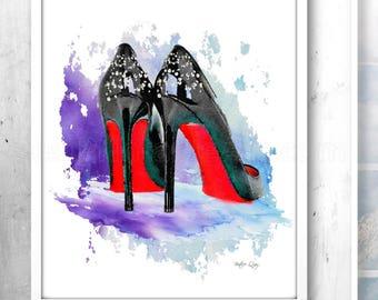 Bedroom Poster,Fashion Artwork,Christian Louboutin,High Heel Print,Watercolor Fashion Art,Fashion Illustration,Fashion Poster,High Heel Art