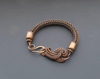 Viking knit bracelet, viking knit jewelry, wire jewellery, copper bracelet, torque bracelet, wire wrapped jewelry, copper jewellery