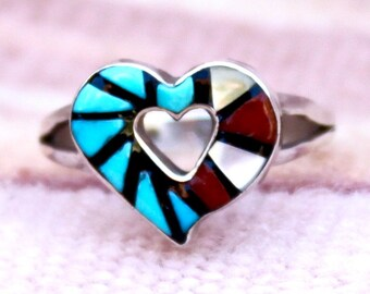 Vintage Native American, Zuni Inlay Heart Ring Sterling Silver Laate
