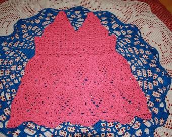 hand-made strapless pink fancy pineapple crochet stitch