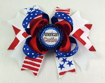 American Cutie Hair Bow/Hair Accessories/Little Girl Hair Bow/Toddler Hair Bow/Tween Hair Bows /Accessory/Red White Blue/July 4th/Stack Bow