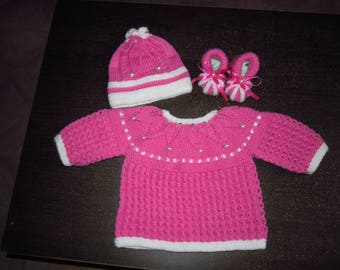 chic set, jacket, bonnet and booties for baby 3 months