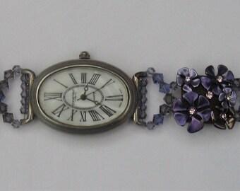 WA60 – Purple and silver antique look bracelet watch