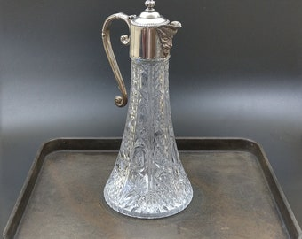 Late 19th Century Claret jug with silver plated mount Bacchus spout