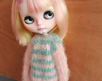"Clothing: dress ""LOVE ME"" pink and green for dolhouse 1/6 (jecci five, icy doll, BJD, pullip, blythe)"