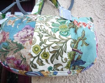Cotton print patchwork handbag