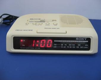 Vintage 1970's Sony AM-FM Alarm Clock Radio - Beige