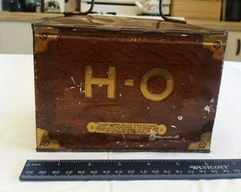 antique 1950 era - H O tobacco cutplug metal tin box by r a patterson - richmond va - lunchbox pail bucket cigarette pipe cigar vintage