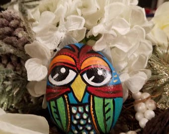 Hand Painted Owl Beach Rock