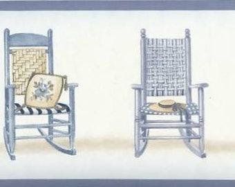 Blue Rocking Chairs Wallpaper Border 1039 VCB