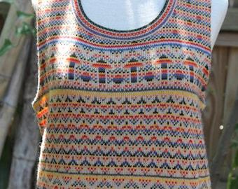 Vintage 1970's Colorful Women's Sweater Vest- M