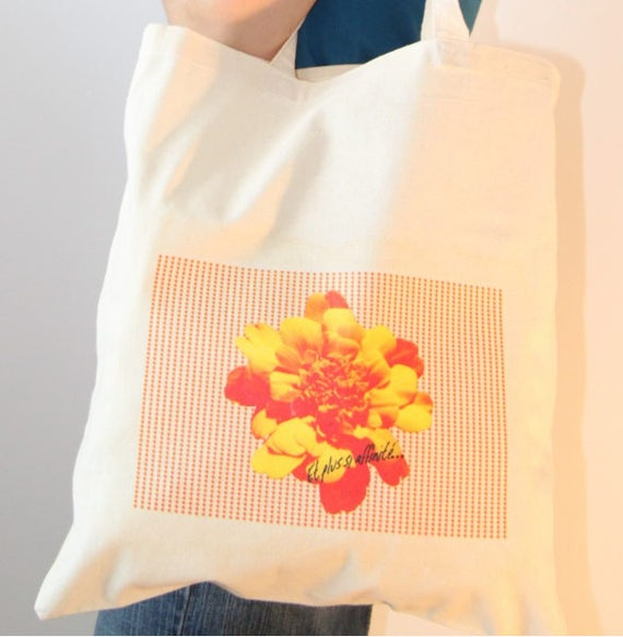 "Graphic print cotton Totebag ""yellow flower"""
