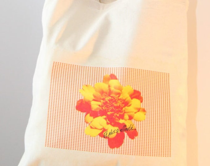 "Graphic print cotton Totebag ""yellow flower"""