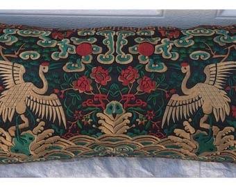 Hollywood Regency Black & Gold Asian Chinoiserie Boudoir Pillow