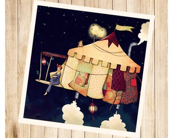 """""""Le chapiteau volant"""", carte postale carrée."""