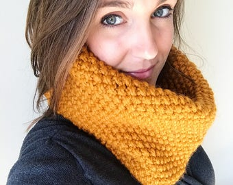 Knit Cowl, Mustard, Knit Infinity Cowl, Knit Scarf, Knit Infinity Scarf, Chunky Knit Scarf, Mustard Knit Cowl, Chunky Cowl, Knit Accessories