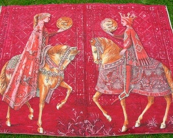 Sanderson King Queen / Prince princess horses  medieval panel vintage cotton fabric 1950s 60s stunning !!