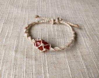 Handmade macramé wrapped Carnelian bracelet