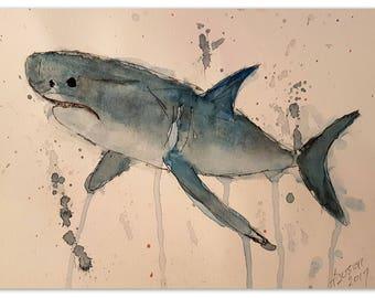 Original Shark Study #2 Watercolor Painting, Instant Digital Download, Wall Hanging, eArtwork Prints