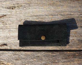 Black nubuck tobacco pouch