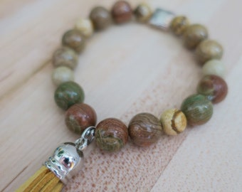 Aromatherapy   Essential Oil   Tassel   Diffuser Bracelet   Beaded Bracelet   Yoga   Jasper Gemstone   Stretch Bracelet   Handmade
