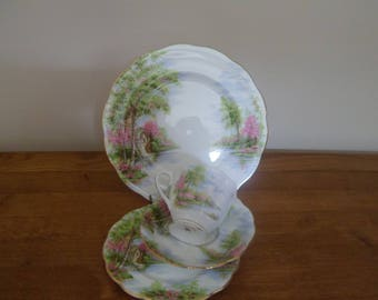 Royal Albert The Old Mill Tea Cup Trio and Lunch Plate