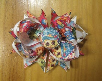 "Shopkins 6"" Handmade Boutique Girls Layered Hair Bow - Cupcake Queen, Bubbles, Apple Blossom, Kooky Cookie"
