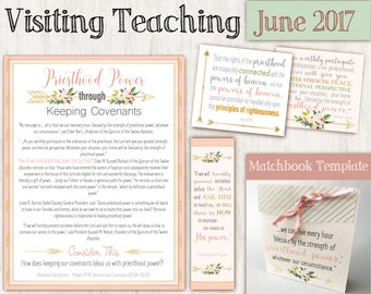 June 2017 Visiting Teaching Message, Relief Society Printable, Instant Download, Message VT LDS handouts, matchbook template