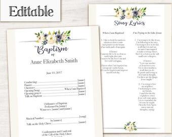 Baptism Program, Editable PDF, Printable Digital Handout Girl Baptism, white flowers, Girl Baptism, Baptism Template, DIY Baptism