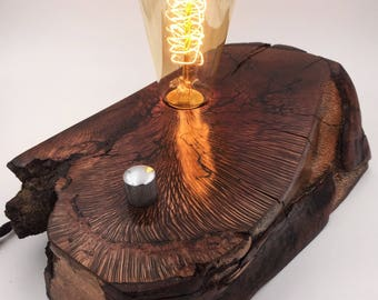 Hawaiian Macadamia Wood Block Desk Lamp. Edison Bulb and Telecaster style On/Off switch. Lichtenberg Figure Design.