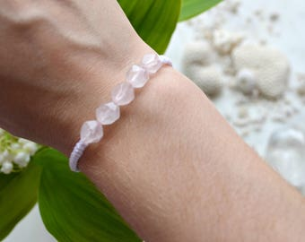 Adjustable braided bracelet with semi precious stones rose Quartz