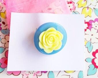 Handmade Blue Button &Flower Brooch