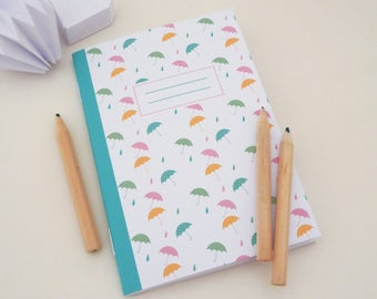 Small colorful umbrellas illustrated A6 notebook