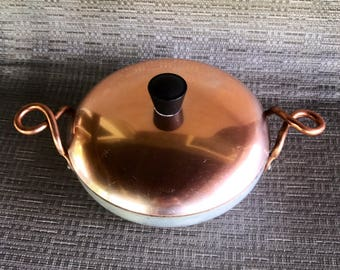 Vintage aluminum pan with copper lid sauce pan Mid Century