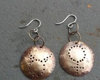 VENUS TAURUS SHIELD Earrings - Handmade in solid brass and sterling silver