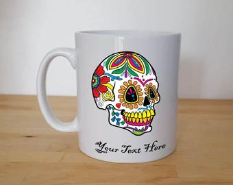 Various Sugar Skull, Day of the Dead, 10oz High Gloss Mug, Can be Personalised with your Name