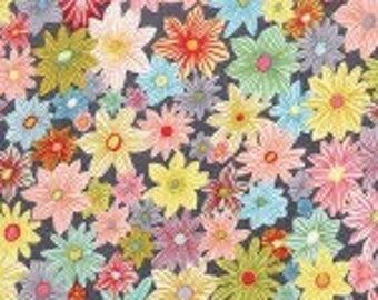 Michael Miller 100% Cotton Quilting Fabric Daisy Garden gorgeous shades of pink, lilac, yellow blue, green flowers on a smoke background