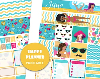2018 HAPPY PLANNER June sticker kit Mambi planner kit Vacation planner June monthly kit Printable monthly stickers