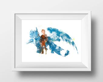 Wall Art Watercolor How to Train Your Dragon Print,Watercolor Hiccup and Toothless Print,Nursery Print,Gold Disney,Baby Gift,Room Decor