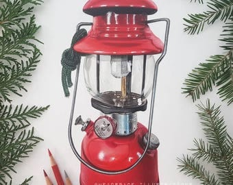 Vintage Red Coleman Camping Lamp Light Wilderness Camp Cabin Lantern - Colored Pencil Art Print by Headspace Illustrations