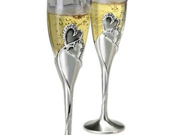 "10 1/4"" 2-Tone Brushed/Shiny Silver Hearts Flute Set, Champagne Flutes, Engraved Wedding Gift"