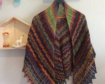 Extra large crocheted shawl