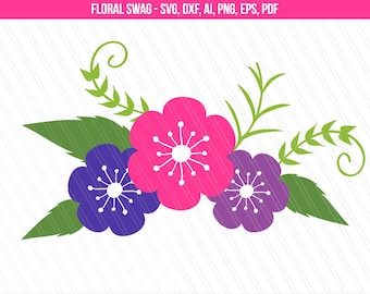 Floral swag svg cutting files, Flower svg, dxf, Garland svg, Flower desgin, Silhouette cameo cricut, Flower clipart printable ai, png