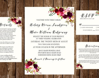 DIGITAL OR PRINTED Floral Boho Wedding Invitation Suite
